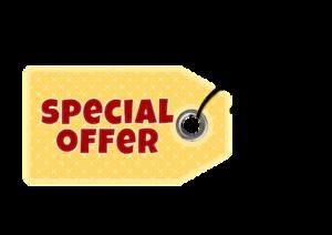 Gelbes Schild mit der Aufschrift Special Offer.